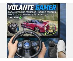Volante gamer con pedales para PC playstation 2 y 3