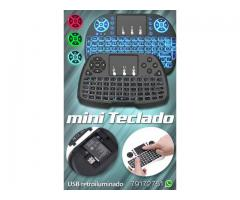 Luminoso Mini Teclado Mouse, Control Remoto para Smart TV