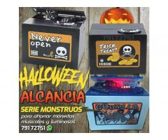 alcancia de halloween come monedas